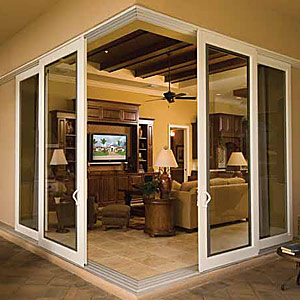 Corner doors corner storage unit with doors for Corner sliding glass doors